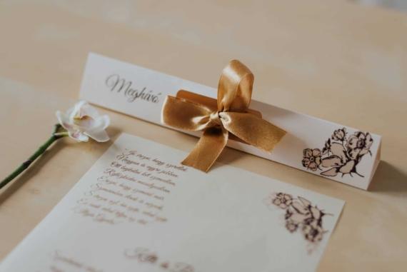 kémcsöves esküvői meghívok szatén masnival