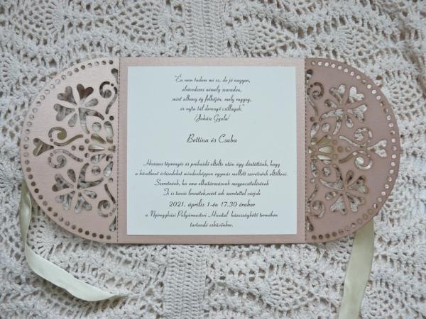 Lézervágott esküvői meghívó
